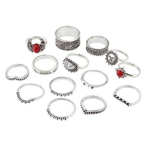 VALERIA. 14 Piece Red Turquoise Silver Tone Ring Set | Elnique