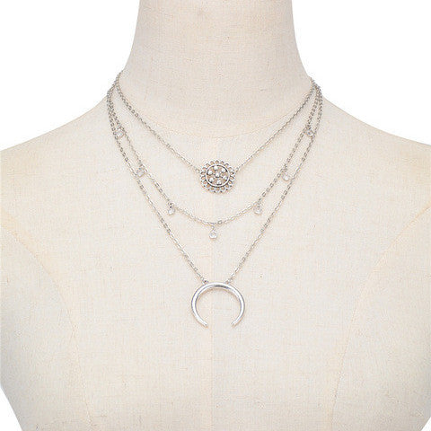 FIFI. Silver Tone Boho Layered Necklace - ELNIQUE | Shop a treasure trove of boho jewellery, accessories and clothing
