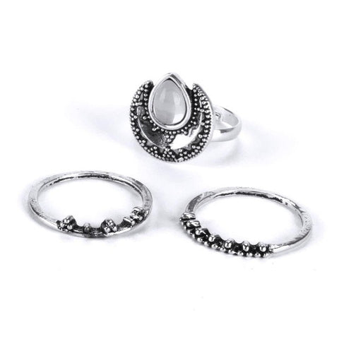 EMMA. 3 Piece Opal Silver Tone Ring Set | Elnique