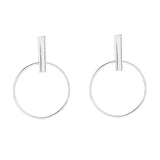 ALBA. Silver White Gold Plated Geometric Hoop Earrings | Elnique