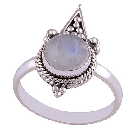 ANOUSHKA. Tear Droplet Moonstone Ring (.925 Sterling Silver) | Elnique
