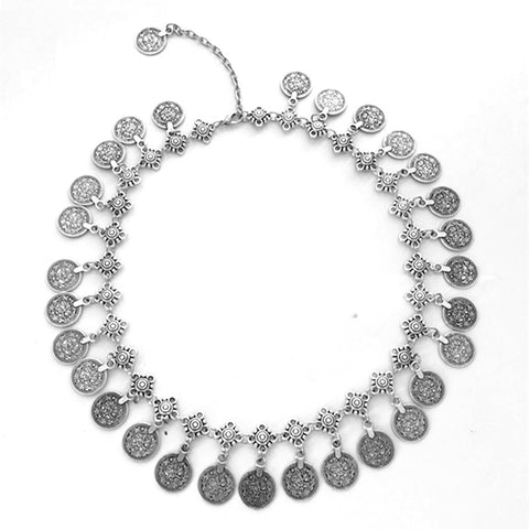 ANTALYA. Silver Coin Statement Necklace | Elnique