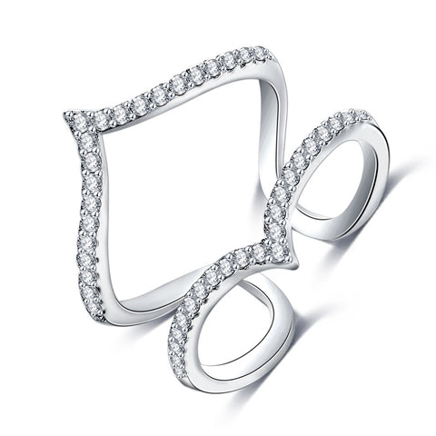 AUDRINA. Silver Double Wishbone Diamanté Cubic Zirconia Ring | Elnique
