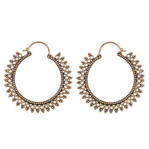 AVALON. Tribal Hoop Brass Earrings | Elnique