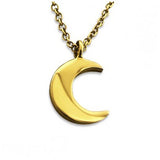 BIRDIE. Gold Crescent Moon Necklace (.925 Sterling Silver) | Elnique
