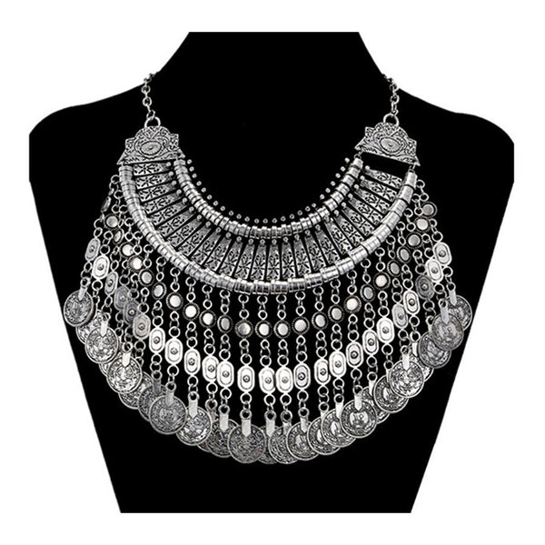 CALYPSO. Silver Coin Collar Statement Necklace Phase II | Elnique