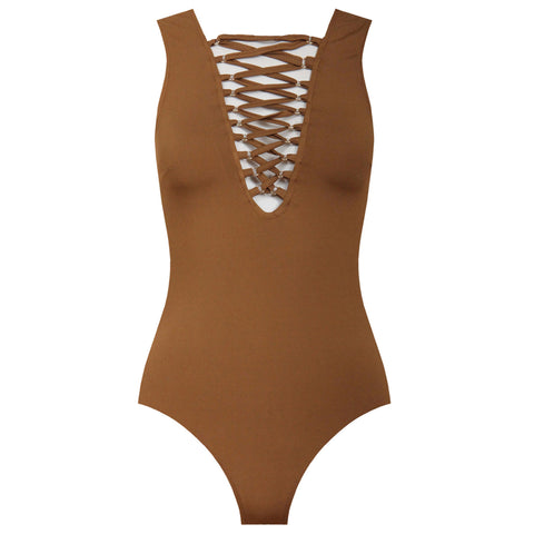 CECILIA Camel Lace Up Bodysuit | Elnique