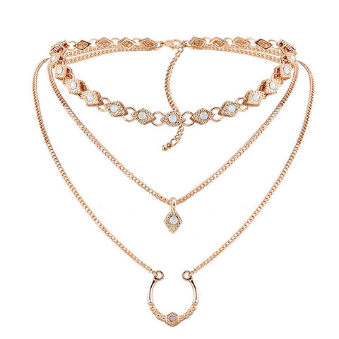 CLEMENTINA. Gold Opal Layered Choker Necklace 3 Piece Set | Elnique