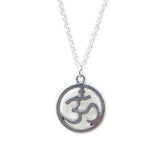 GYPSY. Silver Tone Circular Om Necklace | Elnique