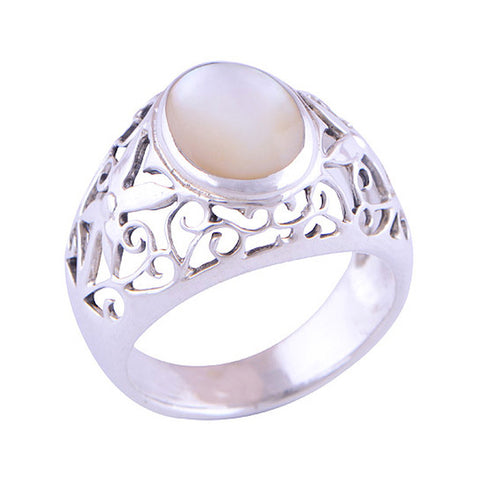 DIONE. Mother of Pearl Ring (.925 Sterling Silver) | Elnique