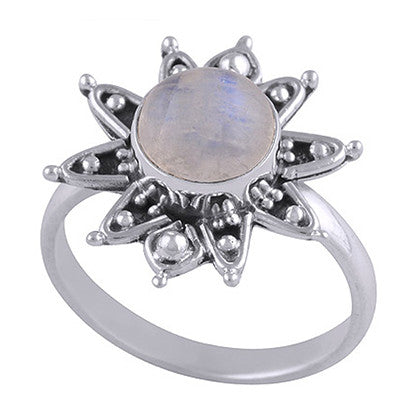 DIXIE. Sacred Flower Rainbow Moonstone Ring (.925 Sterling Silver) | Elnique