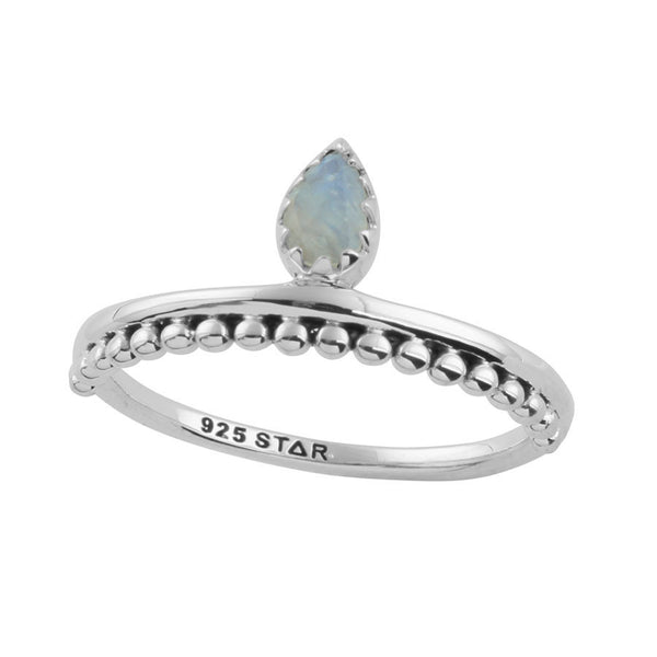 ESTELLE. Drop in the Ocean Rainbow Moonstone Ring (.925 Sterling Silver) | Elnique