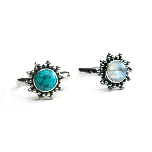 AZALEA. Turquoise or Rainbow Moonstone Flower Ring (.925 Sterling Silver) | Elnique