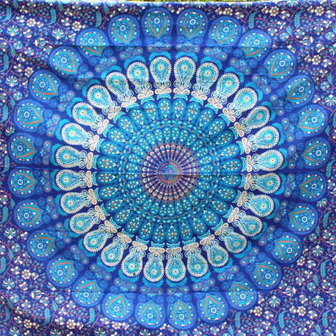 PRIYA Blue Rectangular Mandala Tapestry - ELNIQUE | Shop a treasure trove of boho jewellery, accessories and clothing