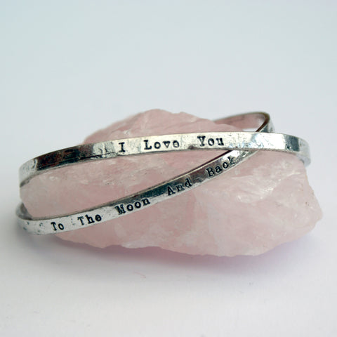 """I Love You"" ""To The Moon and Back"" Silver Bracelet Bangle Gift Set 