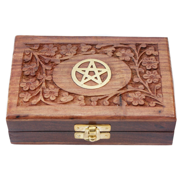 Brass Inlaid Pentagram Wooden Trinket Box | Elnique