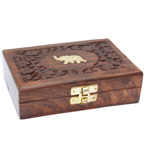 Brass Elephant Wooden Trinket Jewellery Box | Elnique