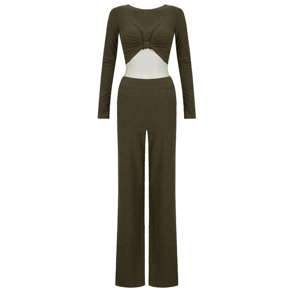 ELIZA. Khaki Crop Top and Palazzo Trouser Co-ord Set | Elnique