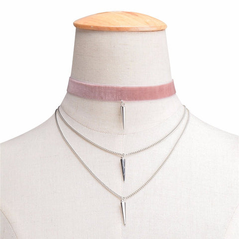 ELLE. Pink Velvet Silver Spike Layered Choker Necklace | Elnique