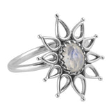 ELMIRA. Cosmic Light Rainbow Moonstone Flower Ring (.925 Sterling Silver) | Elnique