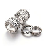 FREYA. Silver Tone 4 Piece Elephant Ring Set | Elnique