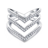 FAITH. Triple Wishbone Diamanté Cubic Zirconia Ring | Elnique