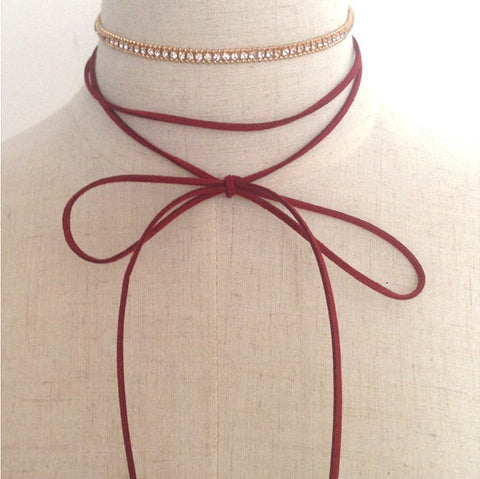 GRACIE Red / Gold Diamanté & Suede Bolo Wrap Choker Necklace Set - ELNIQUE | Shop a treasure trove of boho jewellery, accessories and clothing