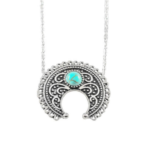 HERA. Turquoise Intricate Crescent Moon Silver Tone Necklace | Elnique