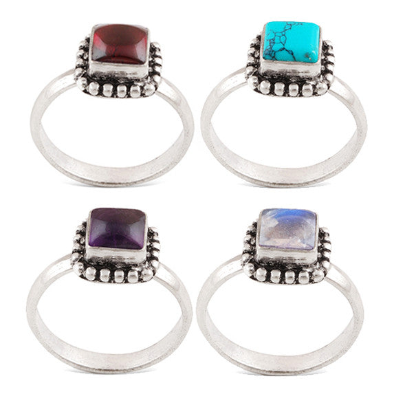 HETTIE. Square Gemstone German Silver Ring | Elnique