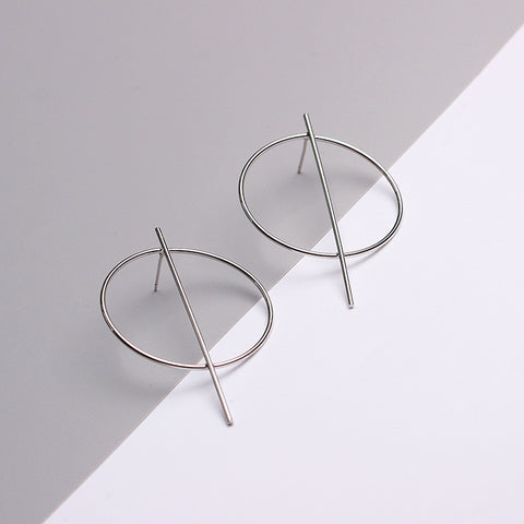 NALA. White Gold Plated Geometric Hoop and Bar Earrings | Elnique