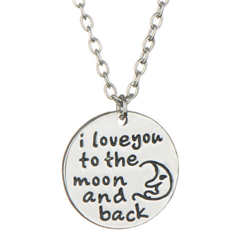 """I Love You To The Moon And Back"" Silver Pendant Gift Necklace 