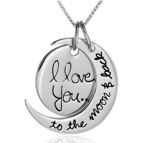 """I Love You"" ""To The Moon And Back"" Silver Crescent Moon Gift Necklace 