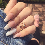 BO. Rose Gold Plated Wishbone Midi Ring (.925 Sterling Silver) | Elnique