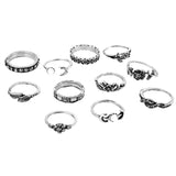 ISABELLA. 11 Piece Silver Tone Marcasite Ring Set | Elnique