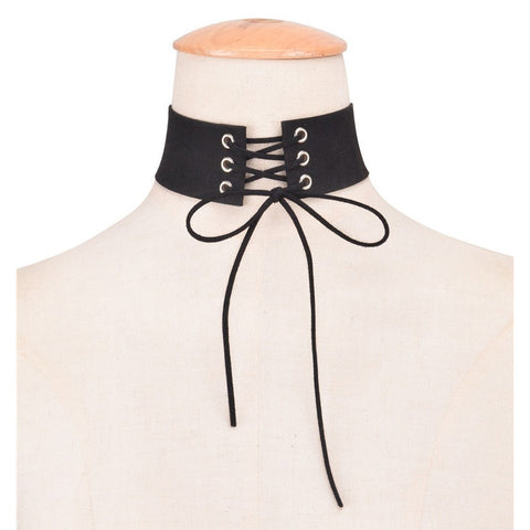 KIMI. Black Faux Suede Lace Up Corset Choker | Elnique