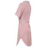 KYLIE. Pink High Neck Curved Hem Dress | Elnique