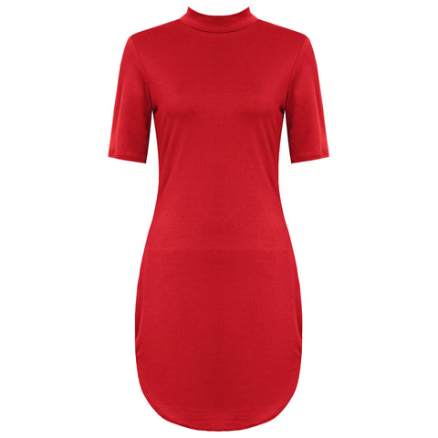 KYLIE. Red High Neck Curved Hem Dress | Elnique