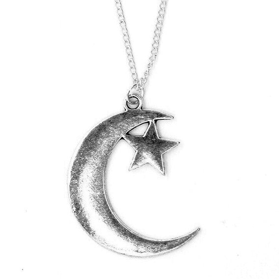 LANI. Large Silver Moon and Star Necklace | Elnique