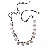 LAPTA. Black Cord Shell and Coin Choker Necklace | Elnique