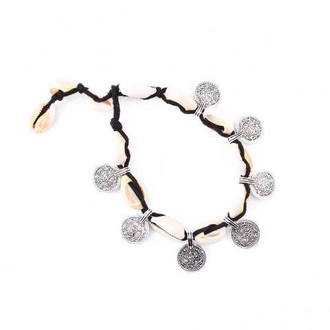 LEFKE. Black Cord Shell and Silver Coin Anklet | Elnique