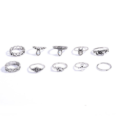 LEFKOSA. Silver Tone 10 Piece Ring Set | Elnique