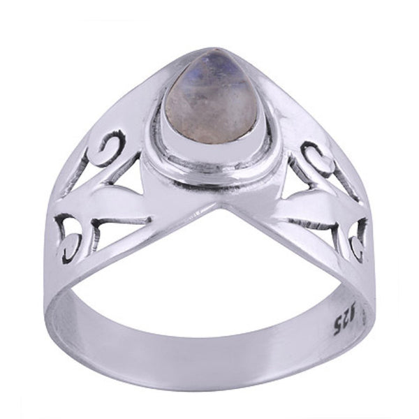 LISSA. Rainbow Moonstone Wishbone Ring (.925 Sterling Silver) | Elnique