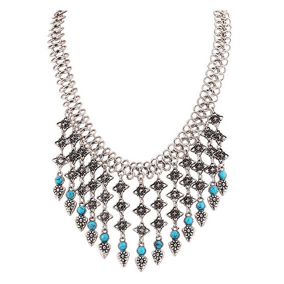 LUX. Silver and Turquoise Statement Necklace | Elnique