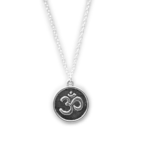 LYRA. Silver Circular Om Coin Necklace | Elnique