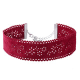 MAGDA. Red Suede/Silver Diamanté/Cross 3 Piece Choker Set | Elnique