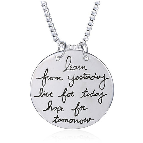 """Learn, Live, Hope"" Silver Plated Pendant Gift Necklace 