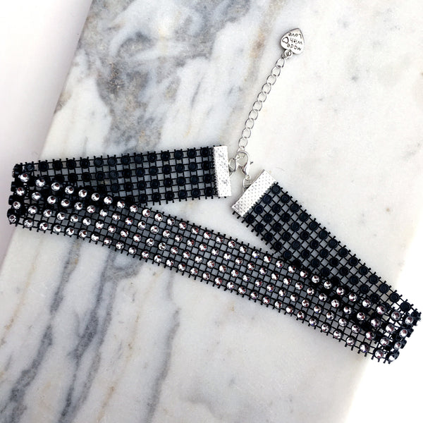 MARILYN. Four Row Black Diamanté Choker | Elnique