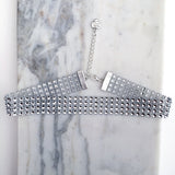 MARILYN. Four Row Silver Diamanté Choker | Elnique