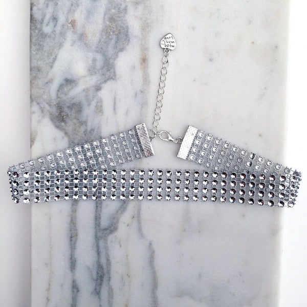 MARILYN Four Row Silver Diamanté Choker - ELNIQUE | Shop a treasure trove of boho jewellery, accessories and clothing