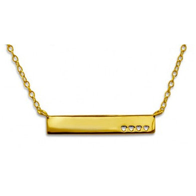 MILLIE. Simple Bar Gold Plated Necklace (.925 Sterling Silver) | Elnique